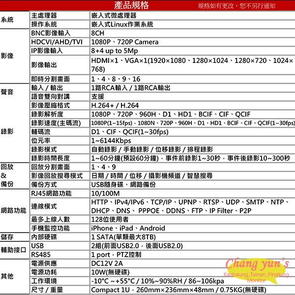 高雄/台南/屏東監視器 DHI-XVR5108HS H.264 8路全方位錄影機五合一XVR 大華dahua 主機