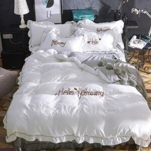 美麗大街【107051628】公主風全棉蕾絲床裙四件套純棉荷葉邊床罩