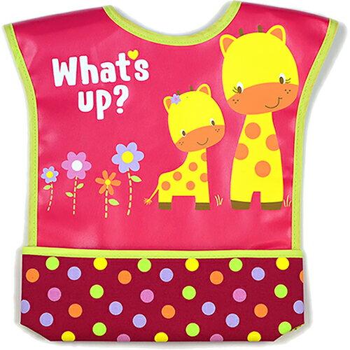 【HELLA 媽咪寶貝】美國 luvable friends 嬰幼兒無袖雙面防水圍兜 粉色長頸鹿(92012)