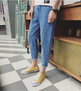FINDSENSE品牌2017春新字母繡花九分牛仔褲男休閑