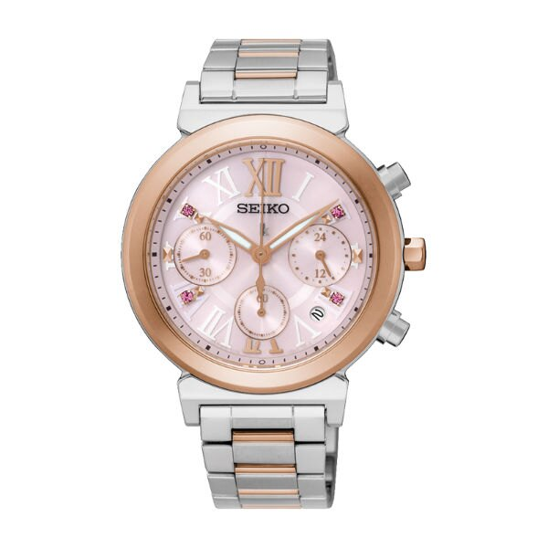 Seiko Lukia V175-0DR0K(SSC852J1)羅馬太陽能計時腕錶/粉紅面36mm