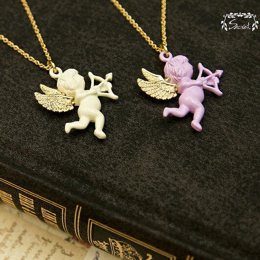【秘密飾品】「愛神邱比特」小天使造型項鍊 (兩色) (現+預)