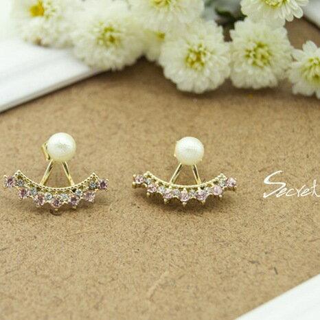 【秘密飾品】「小華麗圓舞曲」輕珠寶珍珠後釦式耳環 (兩色) (現+預)