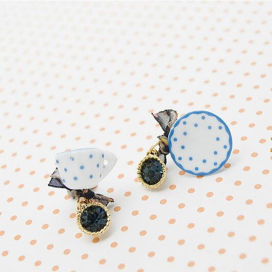 【秘密飾品】「小人國的午茶邀請」可愛茶杯具耳環 (兩色) (現+預)