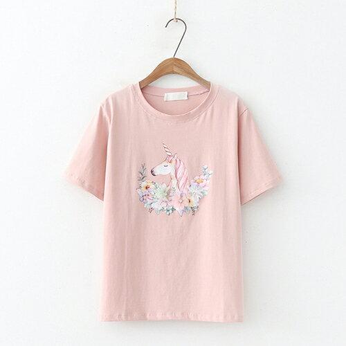*ORead*日系森女圓領印花短袖T恤(3色F碼) 0