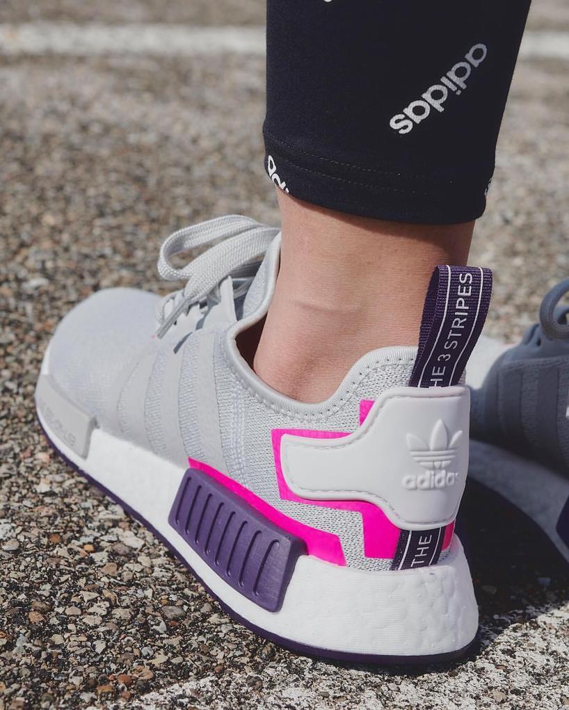 KUMO SHOES-現貨 ADIDAS ORIGINALS NMD_R1 灰紫 休閒 運動 慢跑鞋 女鞋 BD8006