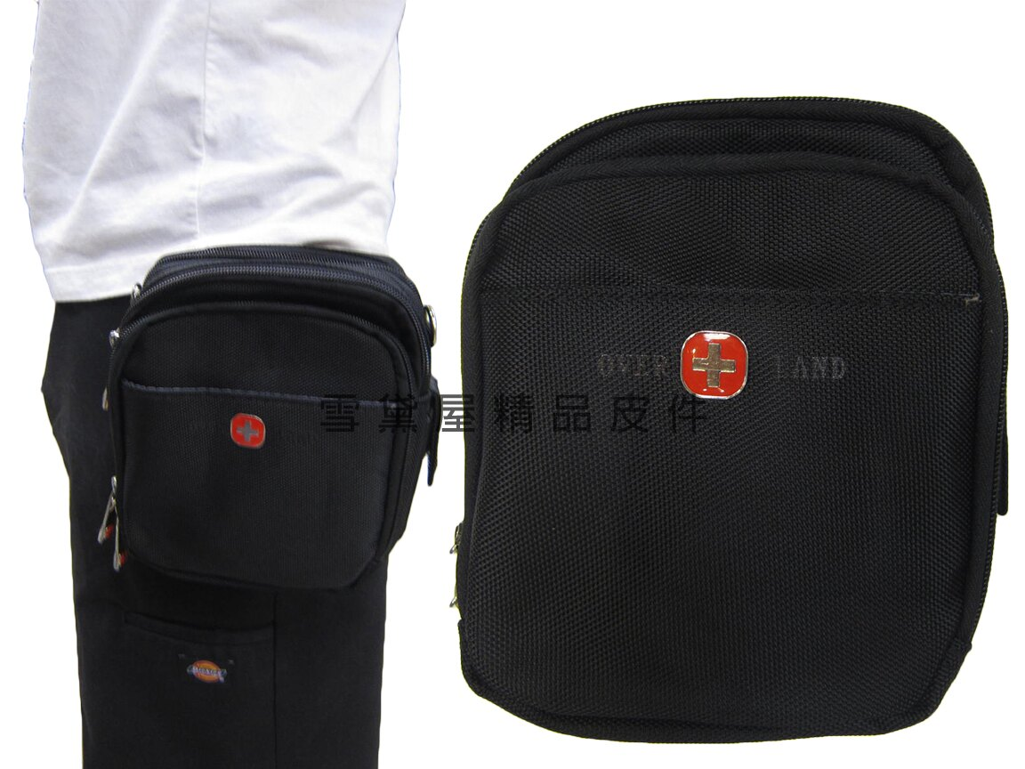 ~雪黛屋~OVER-LAND 腰包外掛式大容量二層主袋可6寸手機防水尼龍布材質隨身包工作袋可穿過皮帶外掛多功能T2600