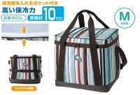 新手露營用品推薦到【露營趣】中和 日本 LOGOS LG81670710條紋軟式保冷袋M 25L 摺疊冰箱 保冰袋 保溫袋 冰桶 野餐籃