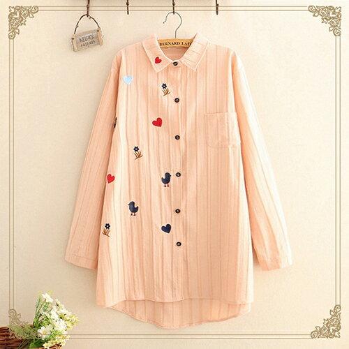 韓版寬鬆中長款刺繡長袖襯衫(3色F碼)【OREAD】 2