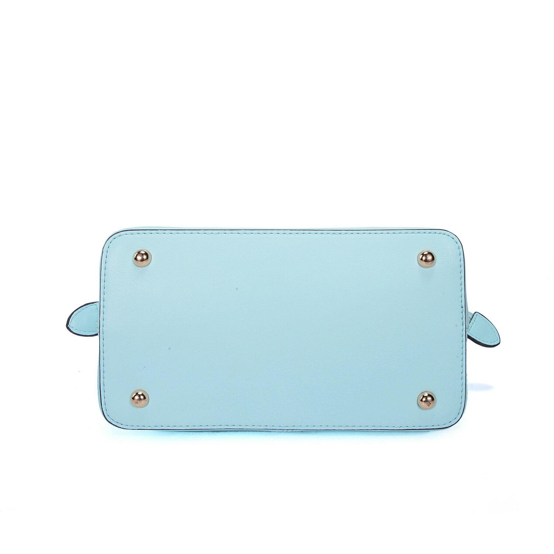【BEIBAOBAO】繽紛馬卡龍真皮手提側背包(粉霧藍 共六色) 8