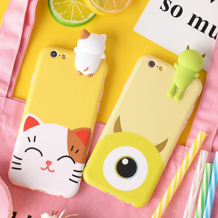 迪士尼立體公仔iphone情侶手機殼 怪獸電力公司可愛卡通貓咪頑皮豹軟殼保護套 蘋果Apple 6 6s 7 8 plus《波卡小姐 貓咪小物》CS0014