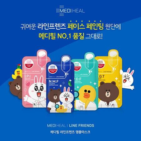 韓國 Mediheal line 聯名款限量面膜 單片 27ml 熊大 兔兔 莎莉 保濕 補水 透亮 舒緩【B061544】
