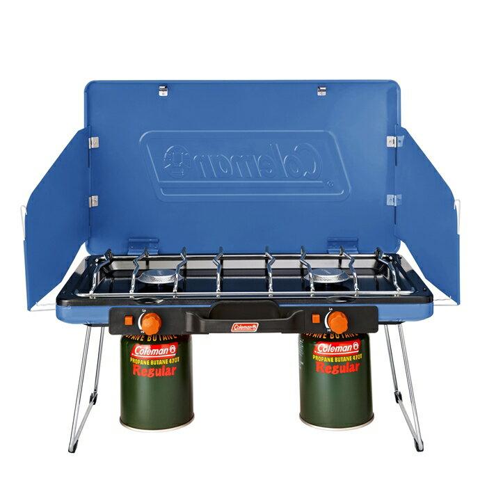 【速捷戶外】美國Coleman CM-31232瓦斯雙口爐(清澈藍) 瓦斯爐 爐具~不鏽鋼材質 自動點火裝置 登山 露營 野炊 戶外廚具