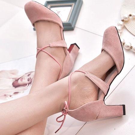 高跟鞋 甜美性感綁帶圓頭粗高跟鞋【S1574】☆雙兒網☆ 4