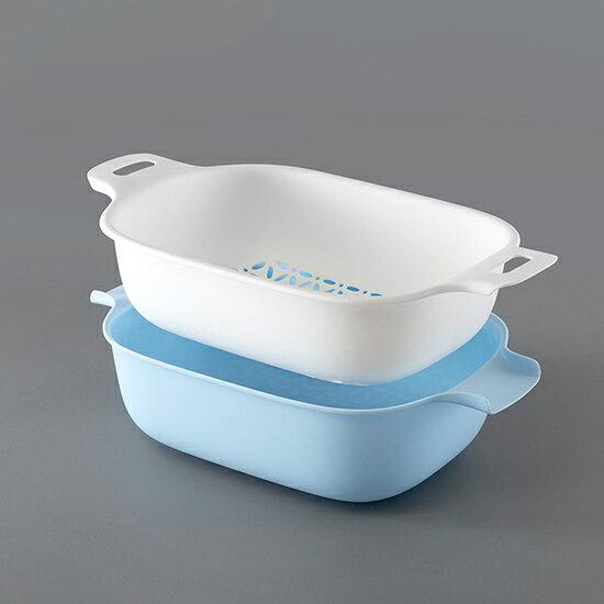 ●MYCOLOR●雙層洗菜瀝水籃簡約大容量加寬菜籃濾水洗水果菜籃廚房碗筷蔬菜【P511】