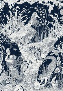 海底美人魚圖深藍色MERMAIDSWALLPAPERNAVY