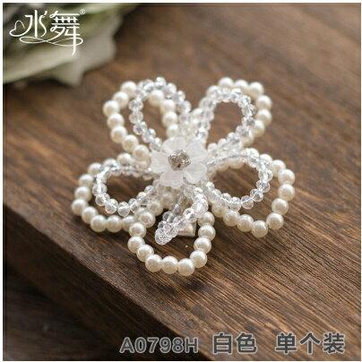 天使嫁衣:天使嫁衣【QA0798】白色水晶串珠花型髮夾髮飾˙預購訂製款