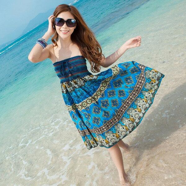 波洋裝 - 波西米亞亞麻連身裙 長裙 (可兩穿)【27103】《 5色》Blue Paris 1