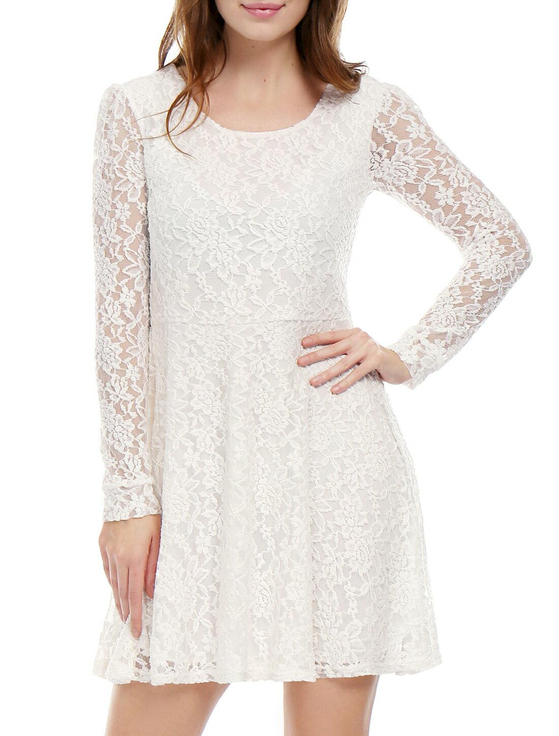 Unique Bargains Women's Scoop Neck Long Sleeves Lace Mini Skater Dress White (Size S / 4) 0