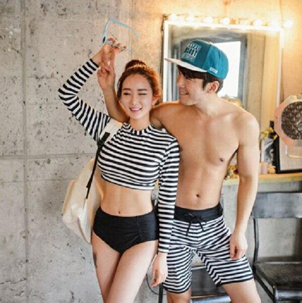 PS Mall 長袖條紋二件式泳裝 情侶泳衣 泳褲~ET530~ 溫泉 沙灘 BIKINI