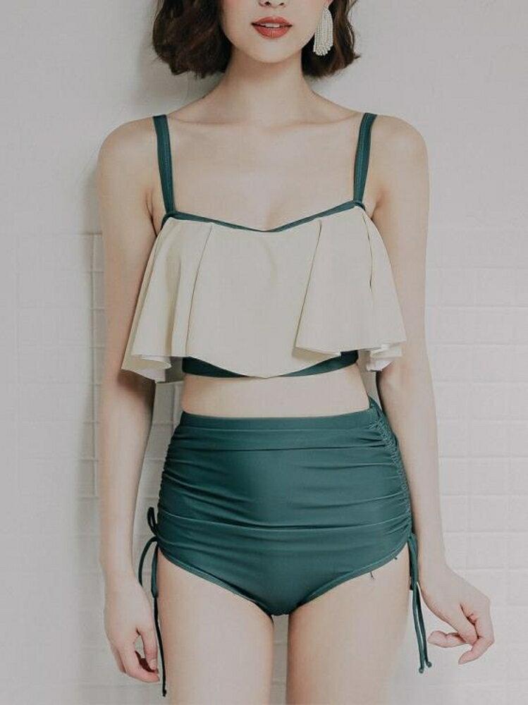泳衣女三件套韓國溫泉小香風分體保守小胸聚攏遮肚顯瘦性感游泳衣 免運
