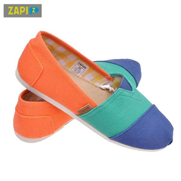 ZAPI-防潑水休閒懶人鞋-藍綠橙