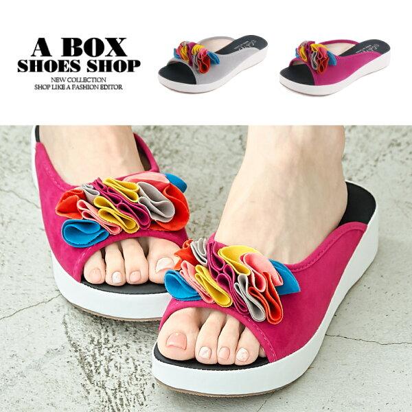 【ANA35】4CM楔型鞋絨面繽紛海帶裙魚口穆勒鞋2色
