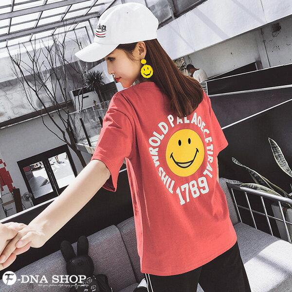 F-DNA★笑臉1789前後印圖圓領短袖上衣T恤(2色-M-2XL)【ET12717】 5