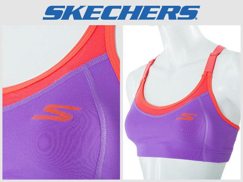 Shoestw【GWPBR677PUR】SKECHES 運動內衣 彈性 韻律背心 調整肩帶 紫橘 透氣 1