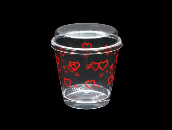 【B7770】慕斯杯、奶酪杯、甜品杯、布丁杯、大圓杯(紅色愛心)(25個含透明蓋)