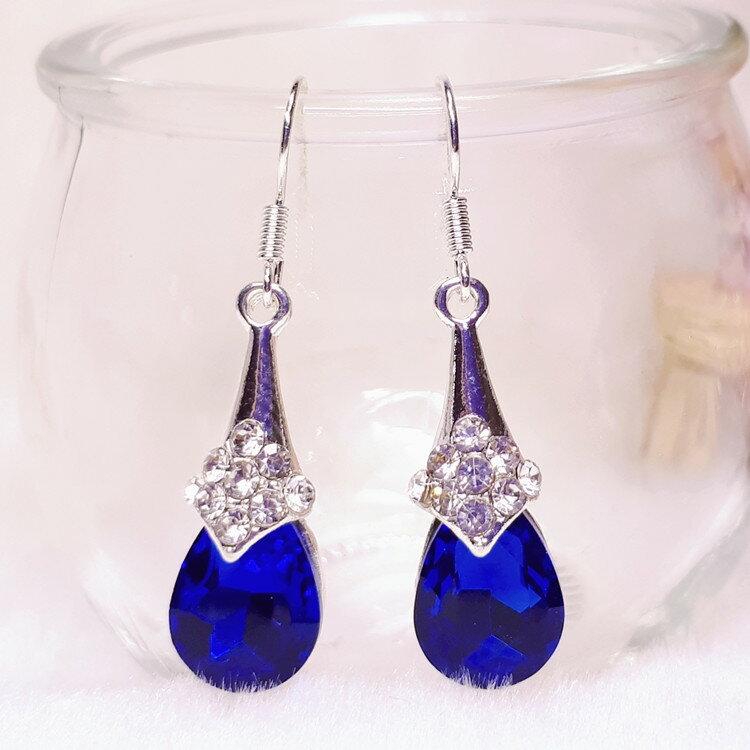 鋼針耳環  316鋼針  耳夾 藍寶石水滴鑽耳環EC2014 日韓  耳飾  飾品  水鑽  鋯石  鋯鑽  水晶  宴會  送禮  情人  高雅    韓劇