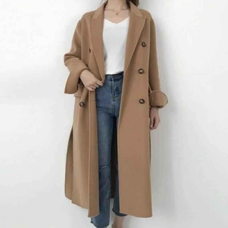 毛呢大衣羊毛外套-純色雙排扣百搭長版女外套3色73wb31【獨家進口】【米蘭精品】 2