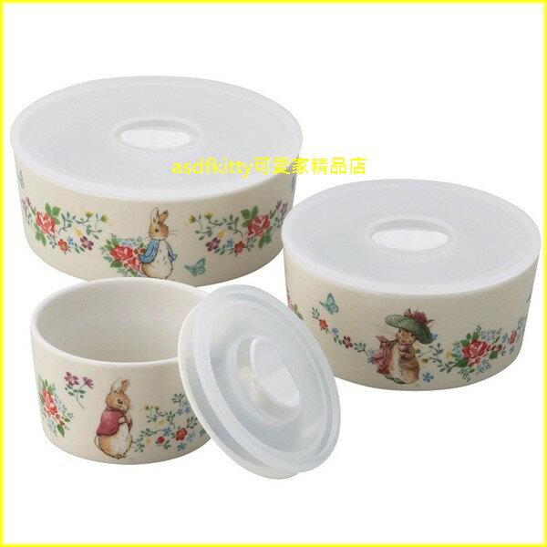 asdfkitty可愛家☆彼得兔古典風陶瓷保鮮碗3入組-本體可微波-日本正版商品