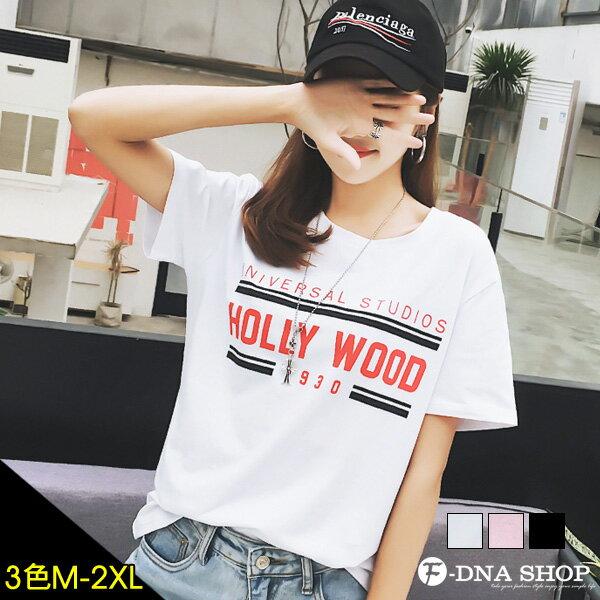 F-DNA★HOLLYWOOD撞色英文圓領短袖上衣T恤(3色-M-2XL)【ET12715】 0