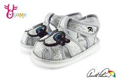 ArnoldPalmer雨傘牌 學步涼鞋 嗶嗶鞋 眨眼睛寶寶涼鞋H6016#銀色◆OSOME奧森鞋業
