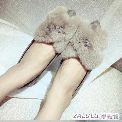 zalulu愛鞋館~IE404~日韓可愛毛球尖頭平底反絨面珍珠裝飾娃娃鞋~偏小~卡其 灰