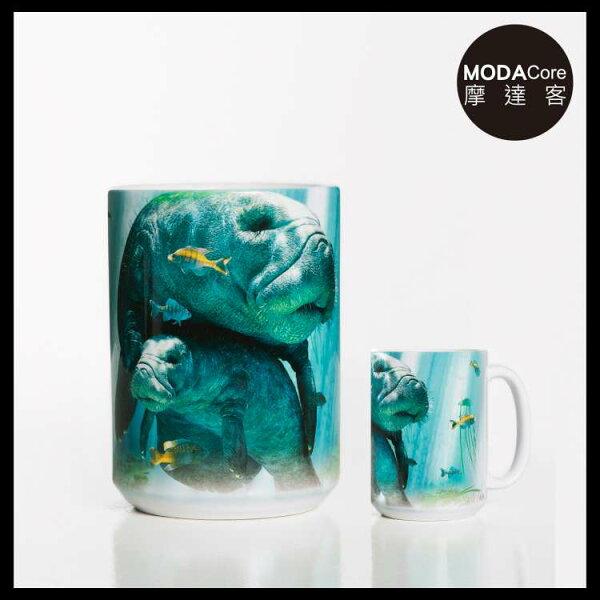 【摩達客】(預購)美國TheMountain親子海牛圖案設計藝術馬克杯440ml