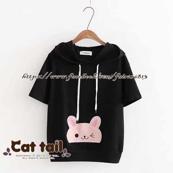 《貓尾巴》TS-0732日系可愛兔子刺繡連帽短袖T恤(森林系日系棉麻文青清新)