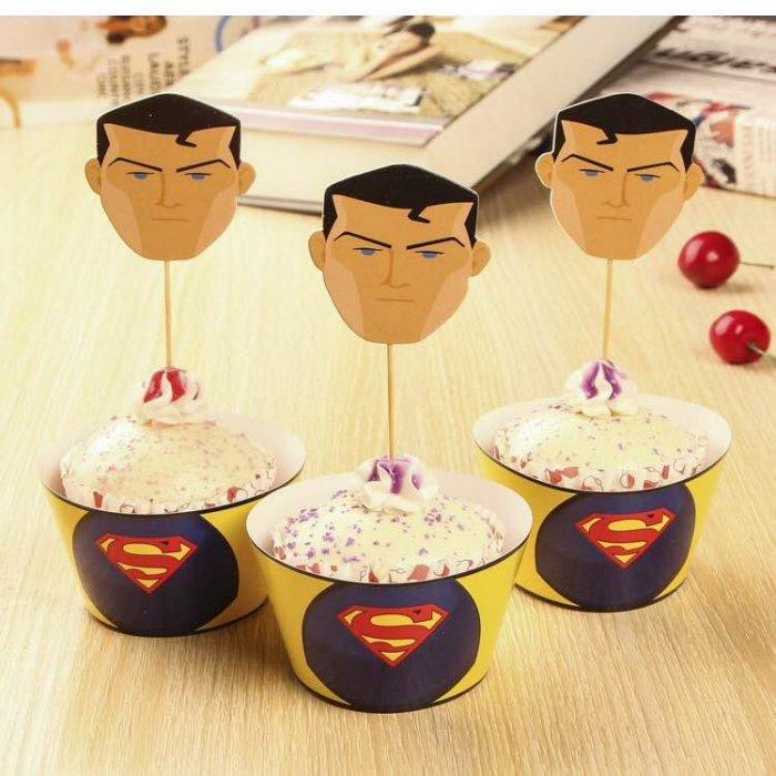 =優生活=烘焙包裝紙杯蛋糕 蛋糕裝飾 插牌圍邊+插牌裝飾 派對用品 兒童生日 彌月蛋糕 收綖蛋糕【超人 人偶】