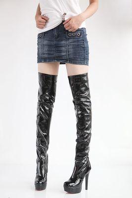 性感 細跟超高跟亮皮防水台女過膝長靴騎士靴~黑 白 紅34~43 ~no~52070614