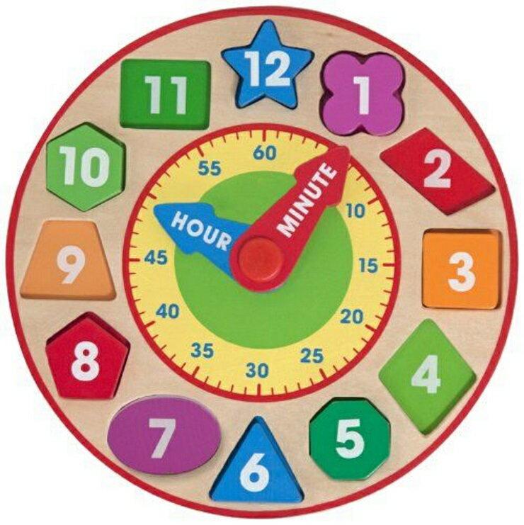 【寶貝樂園】美國瑪莉莎 Melissa & Doug 益智形狀積木時鐘