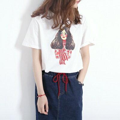 短袖T恤圓領上衣-可愛女孩印花百搭女打底衫2色73sy46【獨家進口】【米蘭精品】