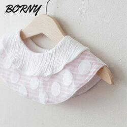 韓國【Borny】360度披肩造型旋轉圍兜 / 口水巾-粉白點