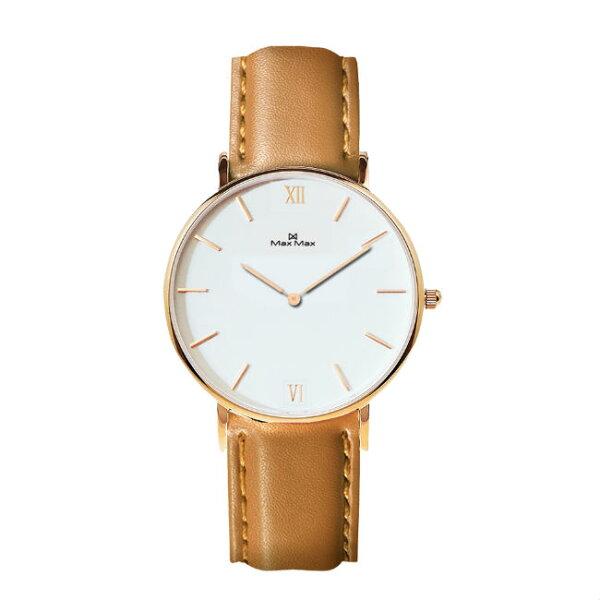 MaxMaxMAS7025-4時尚簡約皮帶腕錶-駝色36mm