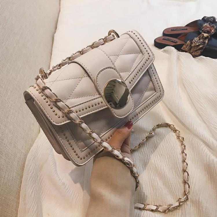 【85折限購】柳釘包chic鍊條包女上潮韓版百搭鉚釘小方包時尚圓扣側背斜背包