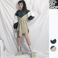 風衣外套推薦到50%OFF SHOP韓版中長款風衣女寬鬆系帶收腰連帽薄款外套【BAAM000378】就在50 OFF GIRL推薦風衣外套