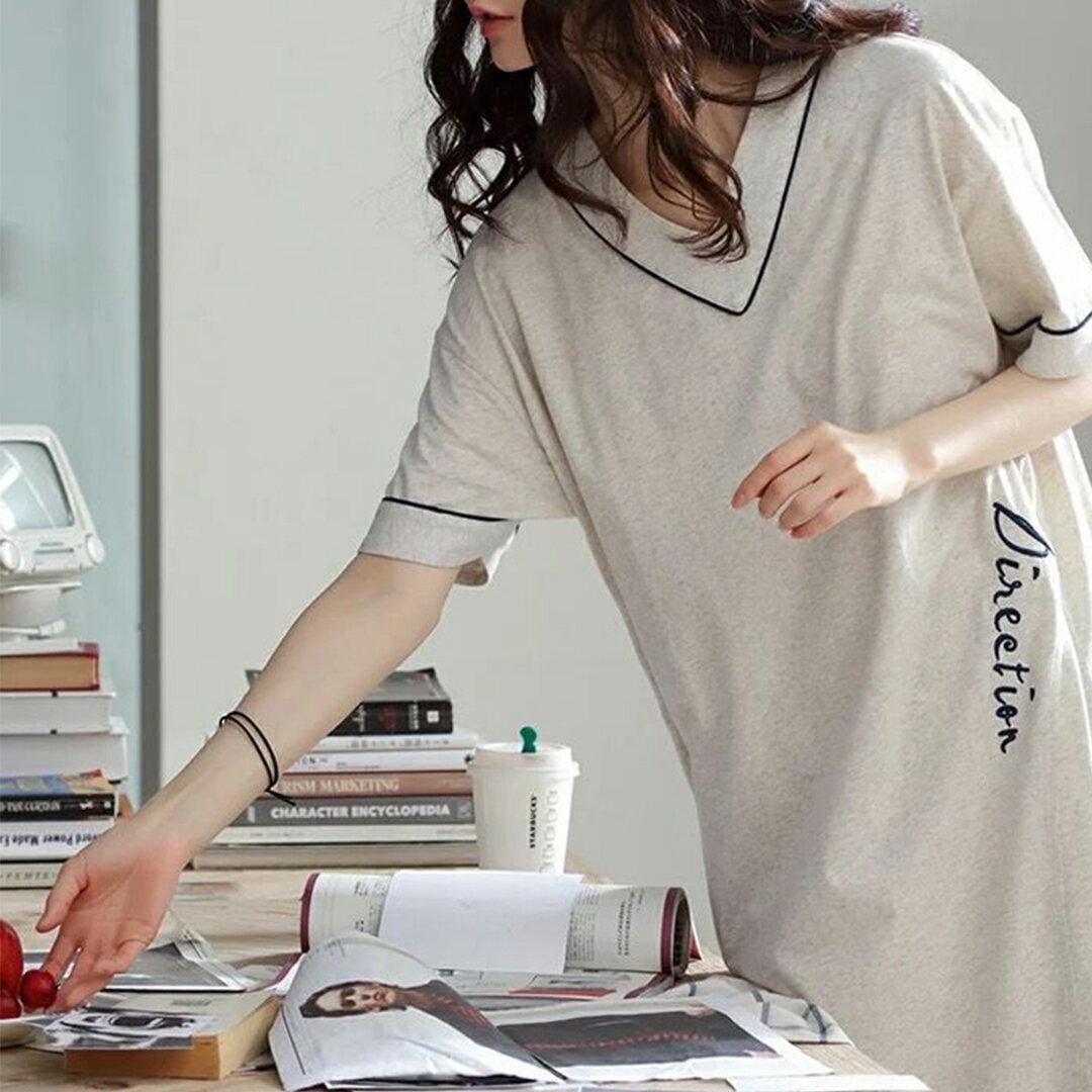 精梳棉- 韓版寬鬆顯瘦居家服睡裙 M-XL(中大尺碼可穿)【漫時光】(G072)★裙裝熱銷NO.1★ 7