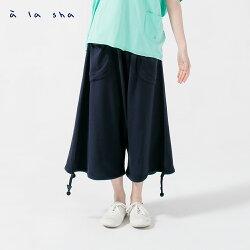 à la sha 毛巾繡點點大口袋低檔褲