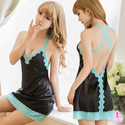 星光密碼:性感睡衣情趣睡衣星光密碼【D086】藍黑撞色蕾絲交叉美背柔緞情趣性感睡衣
