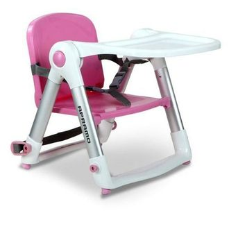 【淘氣寶寶】英國 Apramo Flippa dining booster 可攜式兩用兒童餐椅(QTI)-糖果粉【贈送原廠兩用提袋+香草奶嘴】【總代理公司貨】